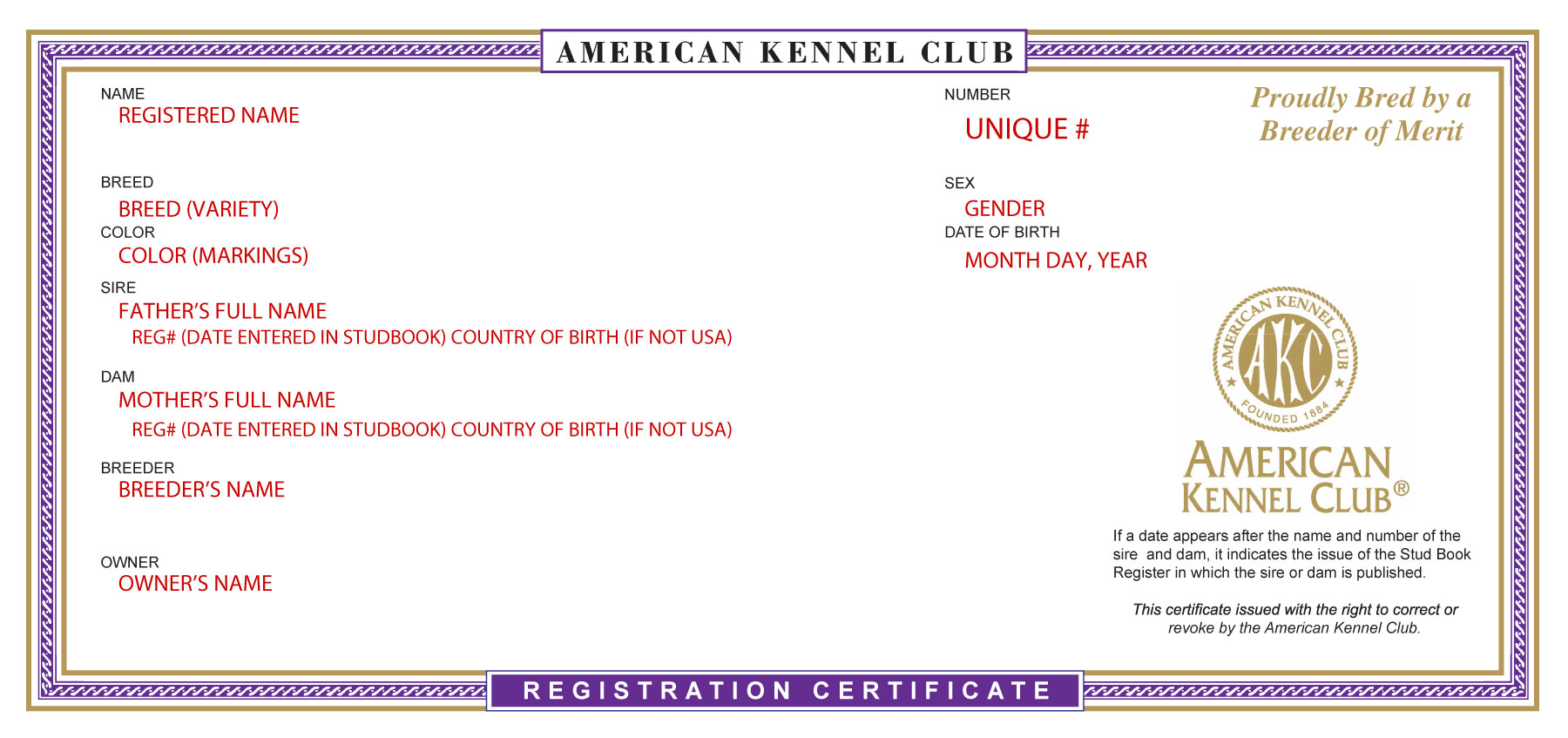 What do papers look like for the love of purebred dogs sample registration certificate from the american kennel club 1betcityfo Images